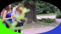 Paparazzi at city-park following Alex & Nina