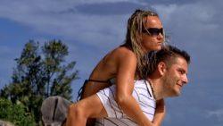 Couple fun at exotic beach